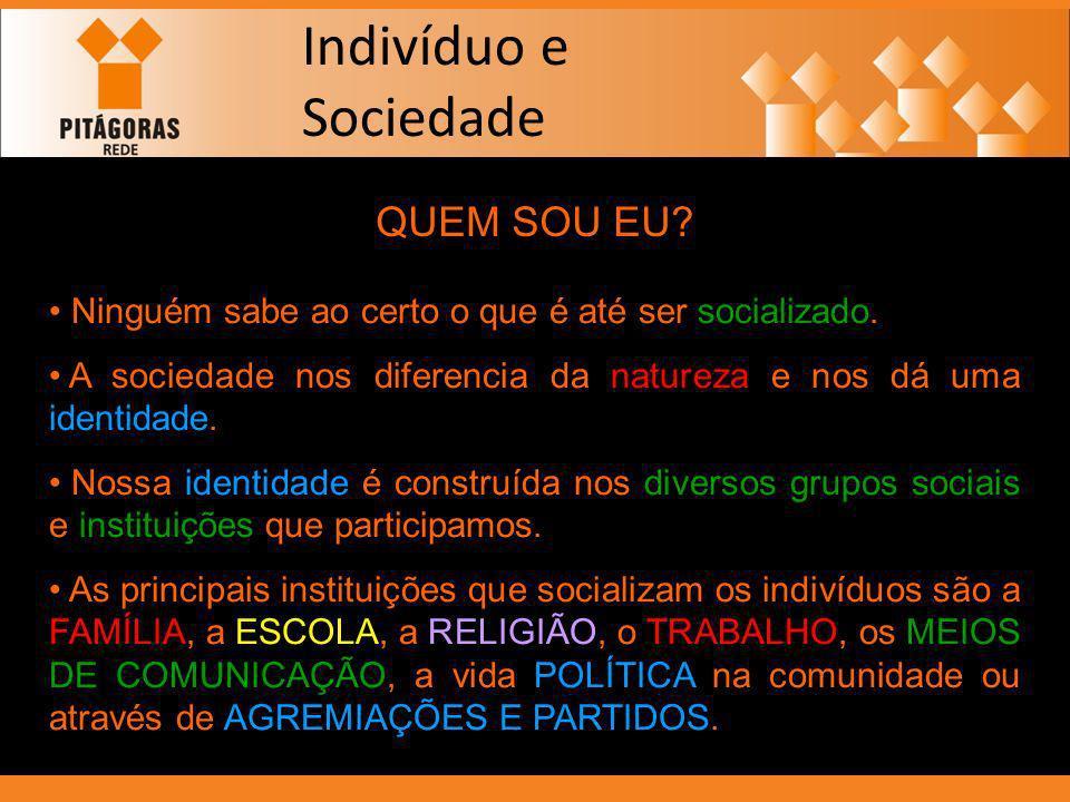 indivíduo sociedade Processo de socialização Formação de identidade família bairro escola religião Estado Indivíduo e Sociedade