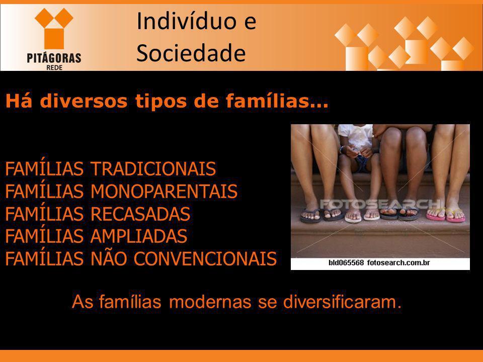 Indivíduo e Sociedade Há diversos tipos de famílias... FAMÍLIAS TRADICIONAIS FAMÍLIAS MONOPARENTAIS FAMÍLIAS RECASADAS FAMÍLIAS AMPLIADAS FAMÍLIAS NÃO