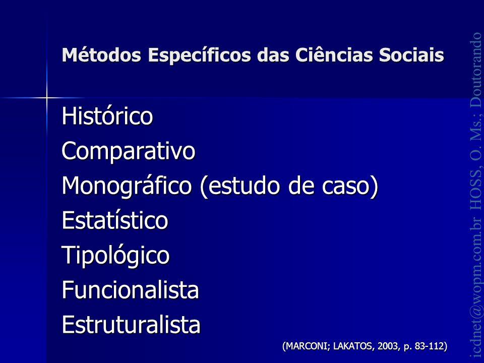 icdnet@wopm.com.br HOSS, O. Ms.; Doutorando Métodos Específicos das Ciências Sociais HistóricoComparativo Monográfico (estudo de caso) EstatísticoTipo