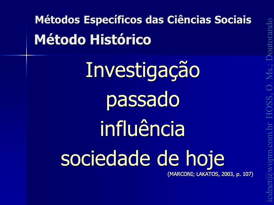 icdnet@wopm.com.br HOSS, O. Ms.; Doutorando Métodos Específicos das Ciências Sociais Investigaçãopassadoinfluência sociedade de hoje (MARCONI; LAKATOS
