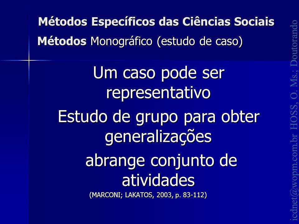 icdnet@wopm.com.br HOSS, O. Ms.; Doutorando Métodos Específicos das Ciências Sociais Um caso pode ser representativo Um caso pode ser representativo E