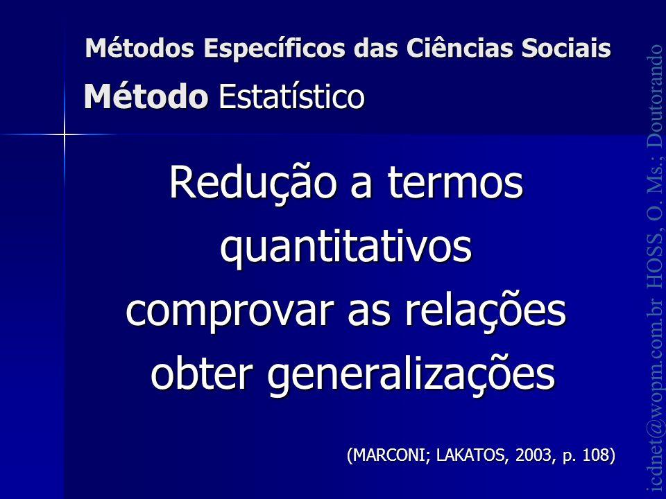 icdnet@wopm.com.br HOSS, O. Ms.; Doutorando Métodos Específicos das Ciências Sociais Redução a termos quantitativos comprovar as relações obter genera