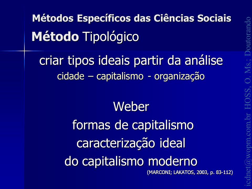 icdnet@wopm.com.br HOSS, O. Ms.; Doutorando Métodos Específicos das Ciências Sociais criar tipos ideais partir da análise cidade – capitalismo - organ