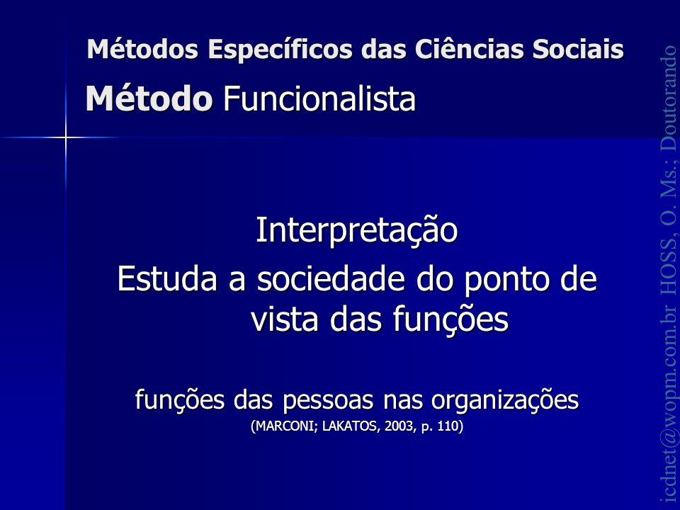 icdnet@wopm.com.br HOSS, O. Ms.; Doutorando Métodos Específicos das Ciências Sociais Interpretação Estuda a sociedade do ponto de vista das funções fu