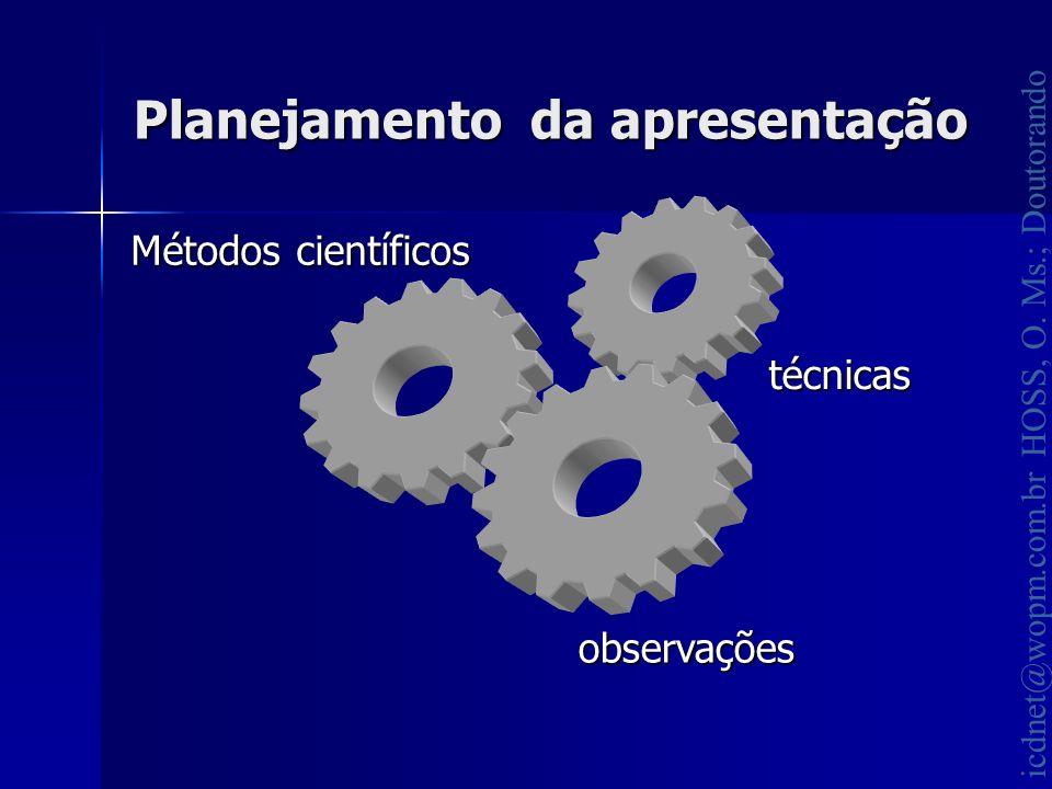 icdnet@wopm.com.br HOSS, O. Ms.; Doutorando Planejamento da apresentação Métodos científicos técnicas observações