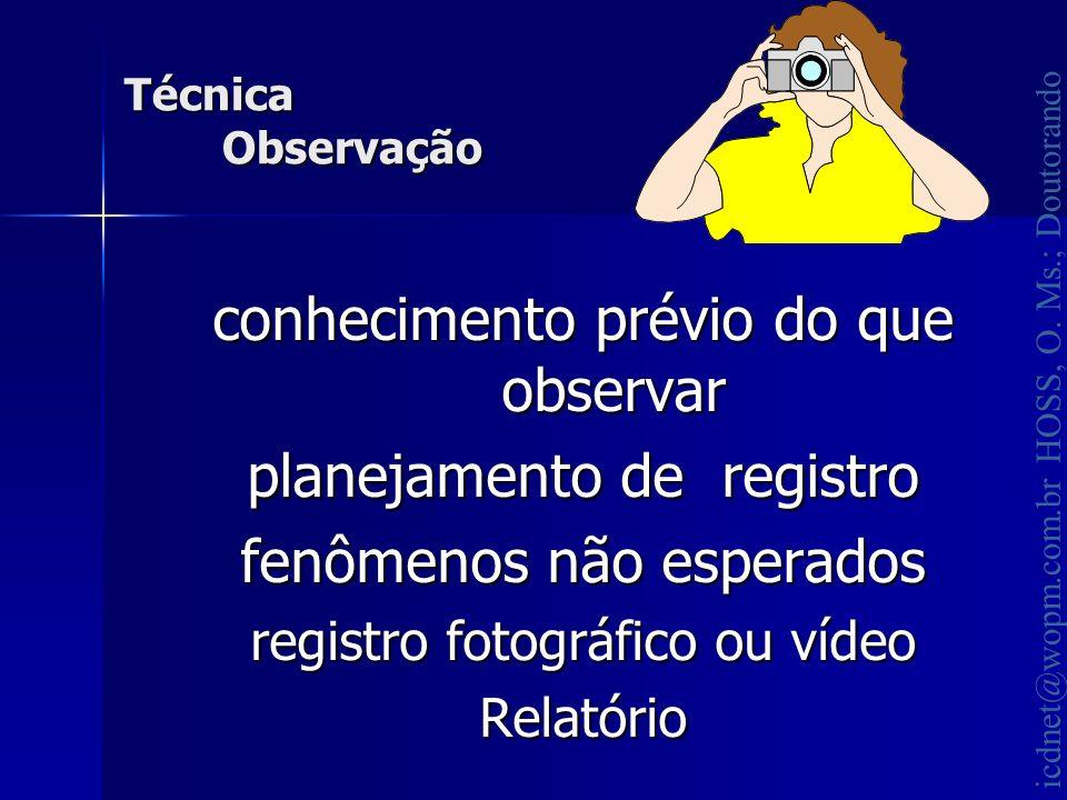 icdnet@wopm.com.br HOSS, O. Ms.; Doutorando conhecimento prévio do que observar planejamento de registro fenômenos não esperados registro fotográfico