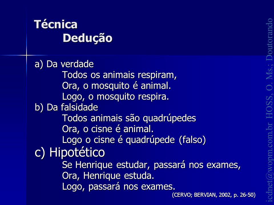 icdnet@wopm.com.br HOSS, O. Ms.; Doutorando Técnica Dedução a) Da verdade Todos os animais respiram, Ora, o mosquito é animal. Logo, o mosquito respir