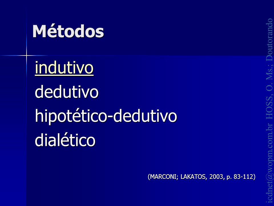 icdnet@wopm.com.br HOSS, O. Ms.; Doutorando Métodos indutivo dedutivohipotético-dedutivodialético (MARCONI; LAKATOS, 2003, p. 83-112)