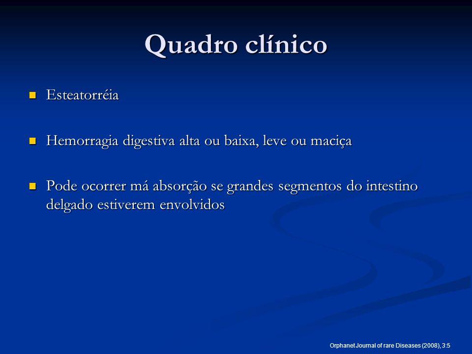 Quadro clínico Esteatorréia Esteatorréia Hemorragia digestiva alta ou baixa, leve ou maciça Hemorragia digestiva alta ou baixa, leve ou maciça Pode oc