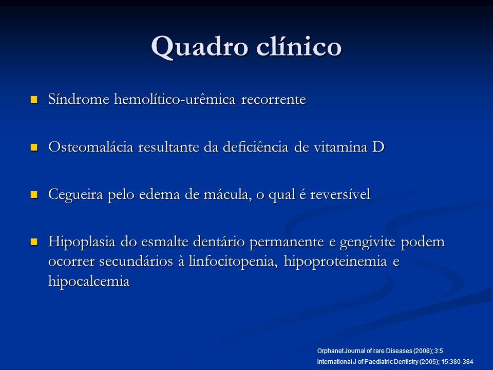 Quadro clínico Síndrome hemolítico-urêmica recorrente Síndrome hemolítico-urêmica recorrente Osteomalácia resultante da deficiência de vitamina D Oste
