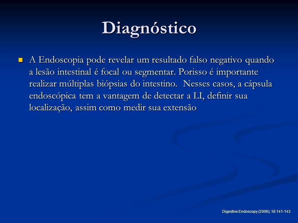 Diagnóstico A Endoscopia pode revelar um resultado falso negativo quando a lesão intestinal é focal ou segmentar. Porisso é importante realizar múltip