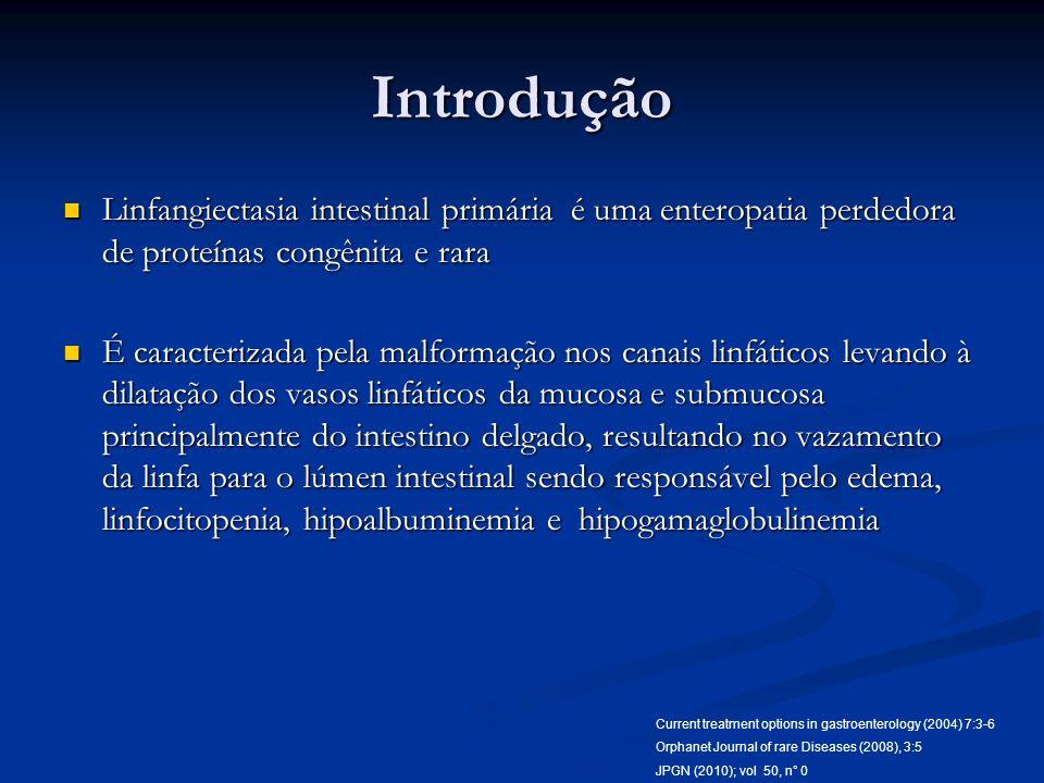 Introdução Linfangiectasia intestinal primária é uma enteropatia perdedora de proteínas congênita e rara Linfangiectasia intestinal primária é uma ent