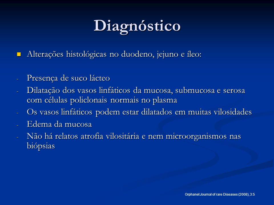 Diagnóstico Alterações histológicas no duodeno, jejuno e íleo: Alterações histológicas no duodeno, jejuno e íleo: - Presença de suco lácteo - Dilataçã