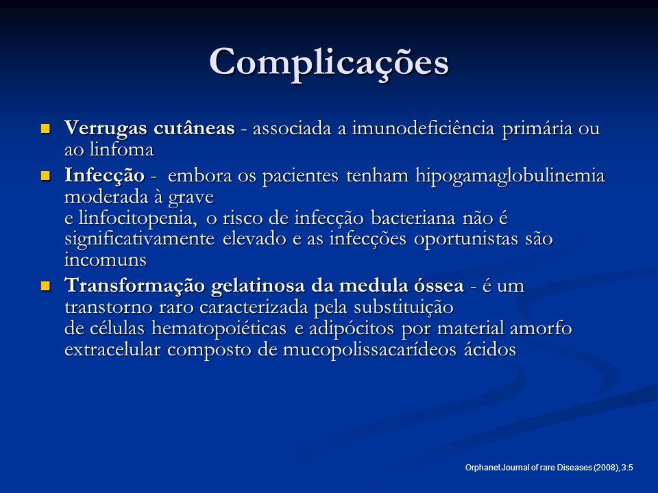 Complicações Verrugas cutâneas - associada a imunodeficiência primária ou ao linfoma Verrugas cutâneas - associada a imunodeficiência primária ou ao l