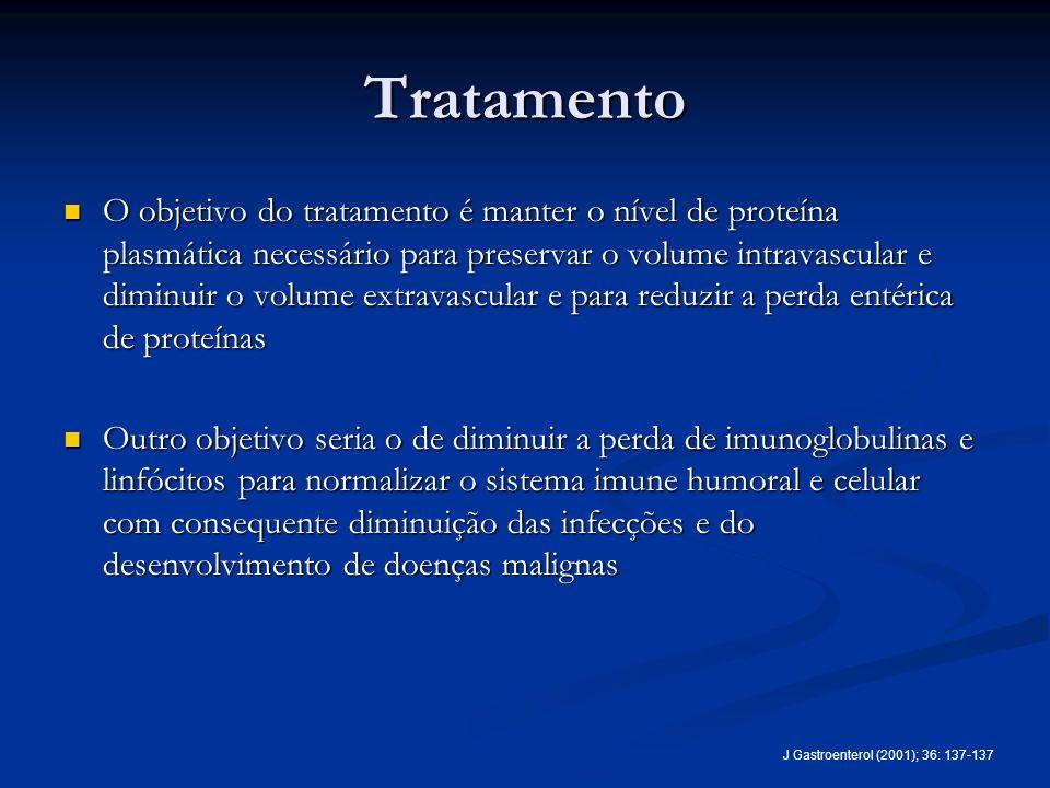 Tratamento O objetivo do tratamento é manter o nível de proteína plasmática necessário para preservar o volume intravascular e diminuir o volume extra