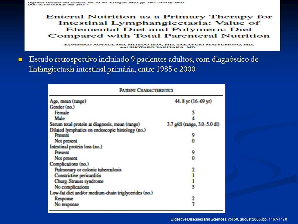 Estudo retrospectivo incluindo 9 pacientes adultos, com diagnóstico de linfangiectasia intestinal primária, entre 1985 e 2000 Estudo retrospectivo inc