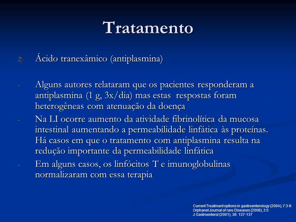 Tratamento 2) Ácido tranexâmico (antiplasmina) - Alguns autores relataram que os pacientes responderam a antiplasmina (1 g, 3x/dia) mas estas resposta
