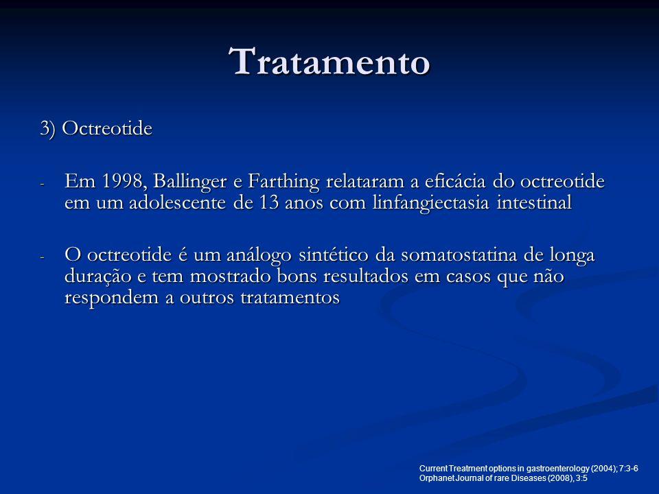 Tratamento 3) Octreotide - Em 1998, Ballinger e Farthing relataram a eficácia do octreotide em um adolescente de 13 anos com linfangiectasia intestina