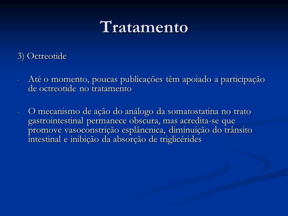 Tratamento 3) Octreotide - Até o momento, poucas publicações têm apoiado a participação de octreotide no tratamento - O mecanismo de ação do análogo d