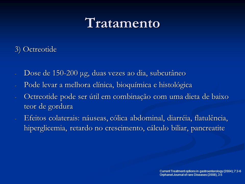 Tratamento 3) Octreotide - Dose de 150-200 μg, duas vezes ao dia, subcutâneo - Pode levar a melhora clínica, bioquímica e histológica - Octreotide pod