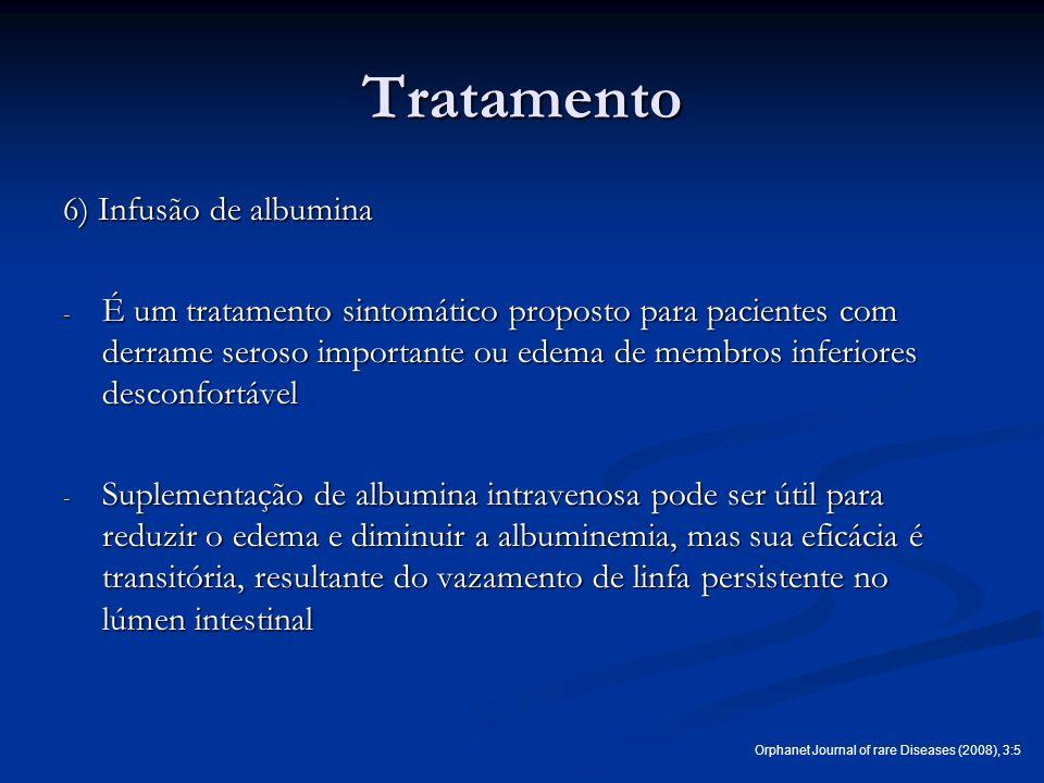 Tratamento 6) Infusão de albumina - É um tratamento sintomático proposto para pacientes com derrame seroso importante ou edema de membros inferiores d