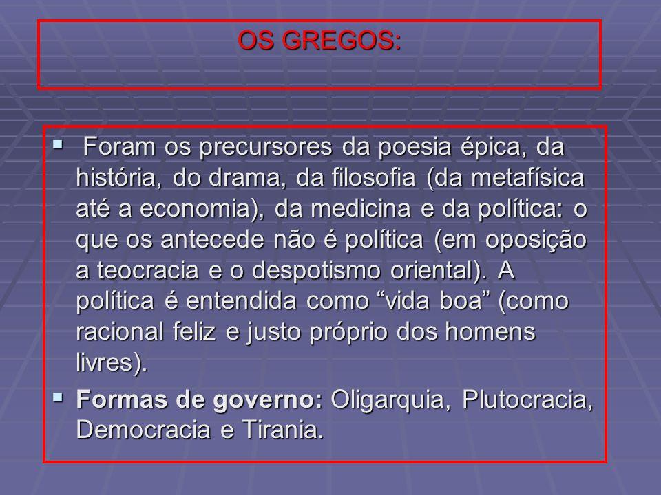 OS GREGOS: Foram os precursores da poesia épica, da história, do drama, da filosofia (da metafísica até a economia), da medicina e da política: o que
