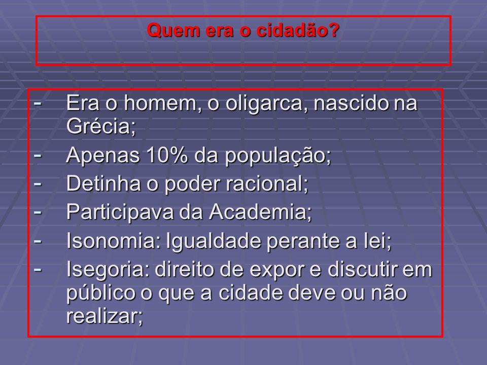 Quem era o cidadão? - Era o homem, o oligarca, nascido na Grécia; - Apenas 10% da população; - Detinha o poder racional; - Participava da Academia; -