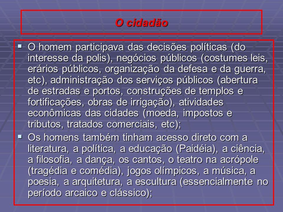 O cidadão O homem participava das decisões políticas (do interesse da polis), negócios públicos (costumes leis, erários públicos, organização da defes