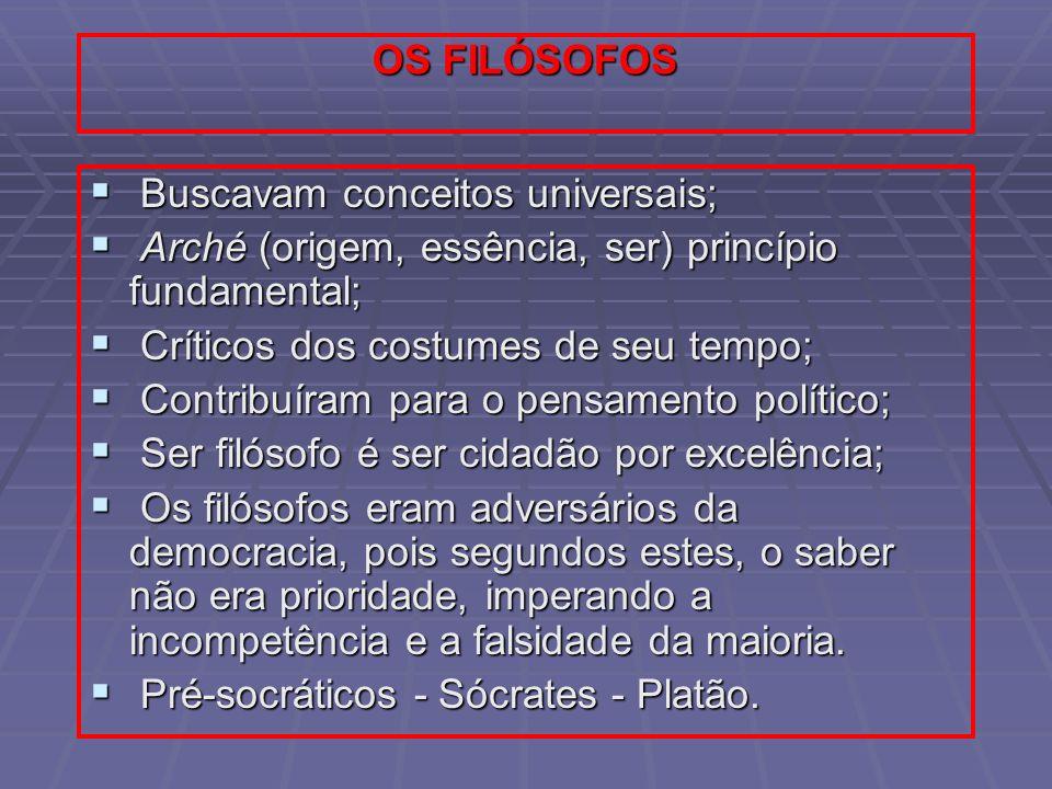 OS FILÓSOFOS Buscavam conceitos universais; Buscavam conceitos universais; Arché (origem, essência, ser) princípio fundamental; Arché (origem, essênci
