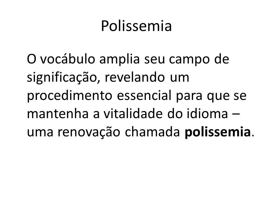 Polissemia O vocábulo amplia seu campo de significação, revelando um procedimento essencial para que se mantenha a vitalidade do idioma – uma renovaçã