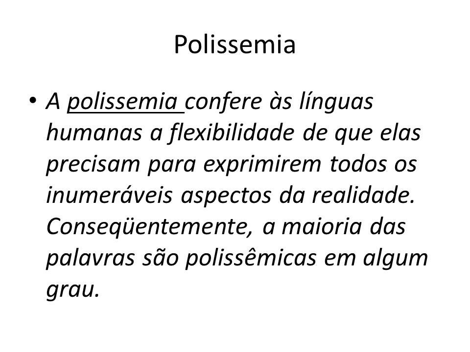 Polissemia A polissemia confere às línguas humanas a flexibilidade de que elas precisam para exprimirem todos os inumeráveis aspectos da realidade. Co