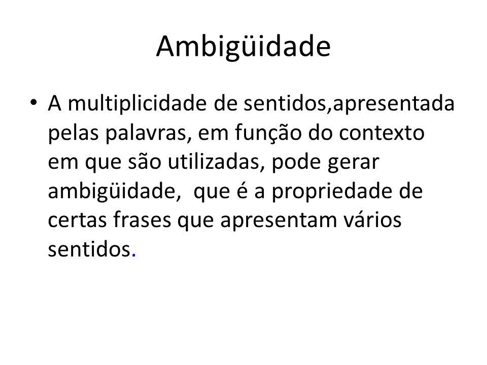 Ambigüidade A multiplicidade de sentidos,apresentada pelas palavras, em função do contexto em que são utilizadas, pode gerar ambigüidade, que é a prop