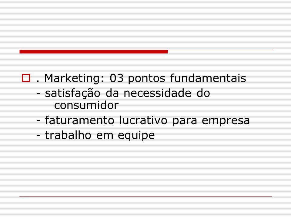 . Marketing: 03 pontos fundamentais - satisfação da necessidade do consumidor - faturamento lucrativo para empresa - trabalho em equipe