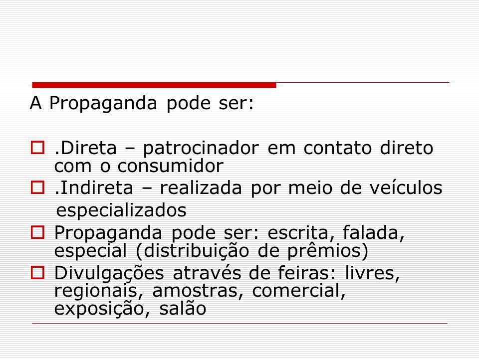 A Propaganda pode ser:.Direta – patrocinador em contato direto com o consumidor.Indireta – realizada por meio de veículos especializados Propaganda po