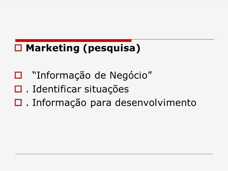 Marketing (pesquisa) Informação de Negócio. Identificar situações. Informação para desenvolvimento