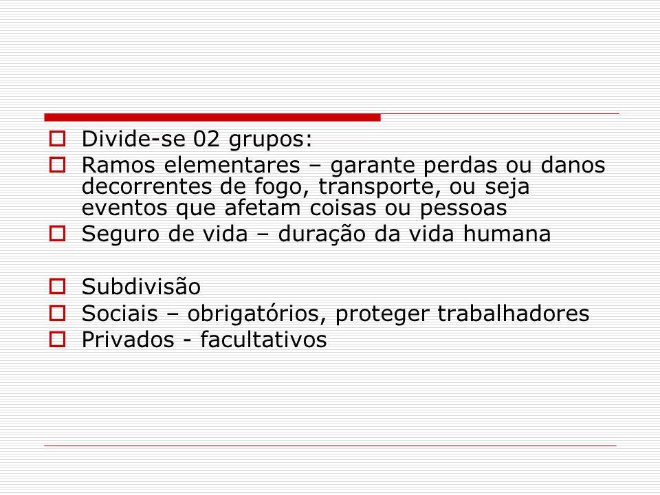 Divide-se 02 grupos: Ramos elementares – garante perdas ou danos decorrentes de fogo, transporte, ou seja eventos que afetam coisas ou pessoas Seguro
