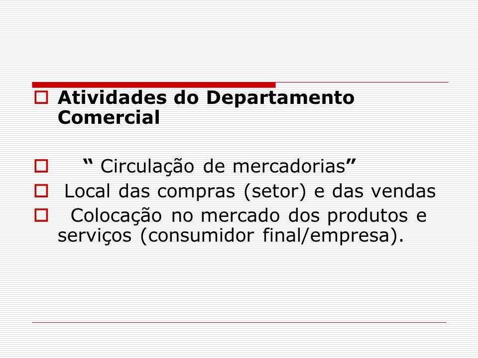 Atividades do Departamento Comercial Circulação de mercadorias Local das compras (setor) e das vendas Colocação no mercado dos produtos e serviços (co