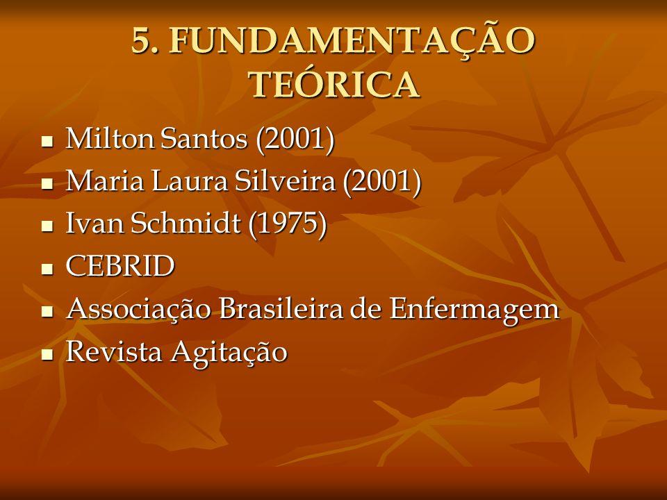 5. FUNDAMENTAÇÃO TEÓRICA Milton Santos (2001) Milton Santos (2001) Maria Laura Silveira (2001) Maria Laura Silveira (2001) Ivan Schmidt (1975) Ivan Sc