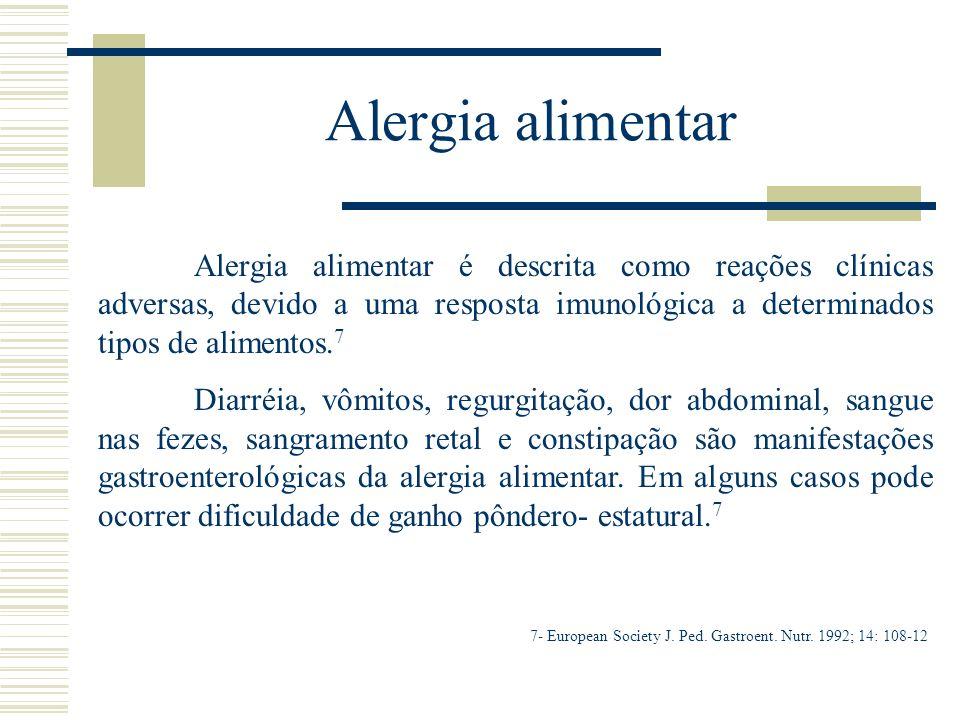 Alergia alimentar Alergia alimentar é descrita como reações clínicas adversas, devido a uma resposta imunológica a determinados tipos de alimentos. 7