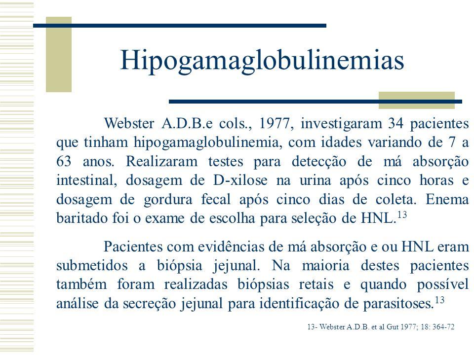 Hipogamaglobulinemias Webster A.D.B.e cols., 1977, investigaram 34 pacientes que tinham hipogamaglobulinemia, com idades variando de 7 a 63 anos. Real