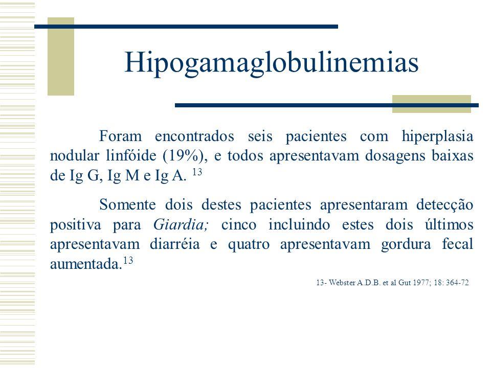 Hipogamaglobulinemias Foram encontrados seis pacientes com hiperplasia nodular linfóide (19%), e todos apresentavam dosagens baixas de Ig G, Ig M e Ig