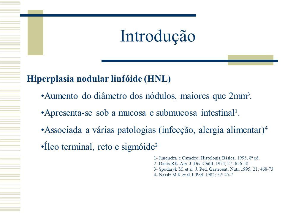 Introdução Hiperplasia nodular linfóide (HNL) Aumento do diâmetro dos nódulos, maiores que 2mm³. Apresenta-se sob a mucosa e submucosa intestinal¹. As