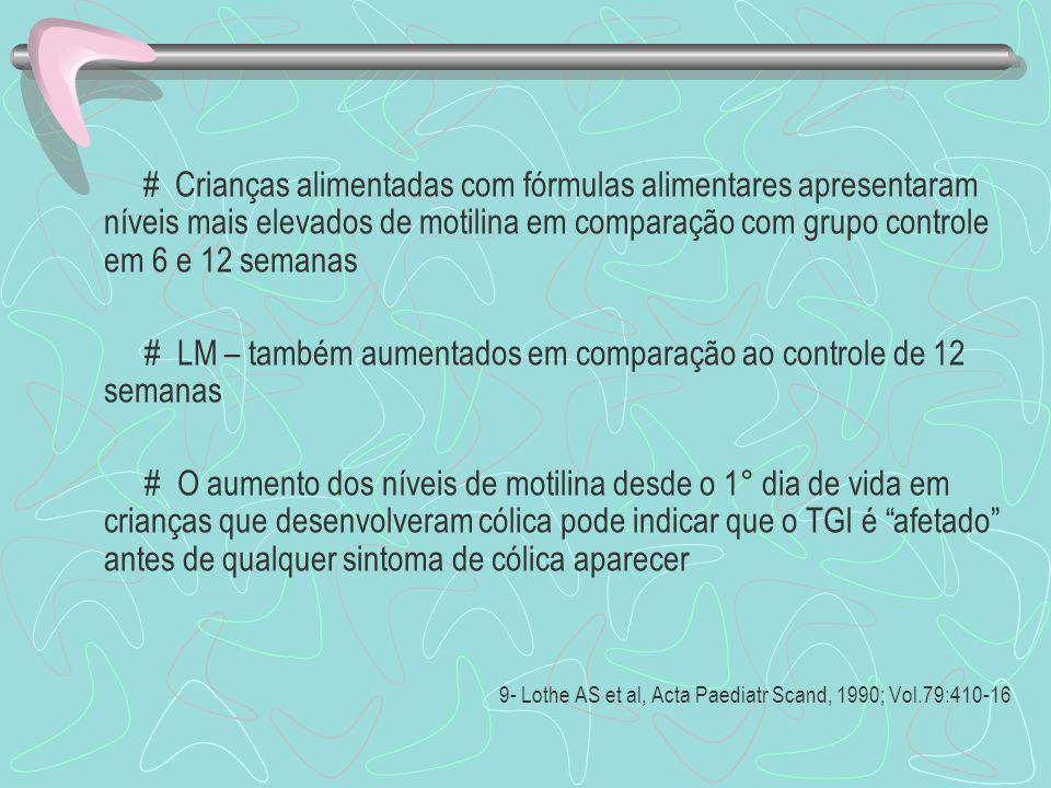 # Crianças alimentadas com fórmulas alimentares apresentaram níveis mais elevados de motilina em comparação com grupo controle em 6 e 12 semanas # LM