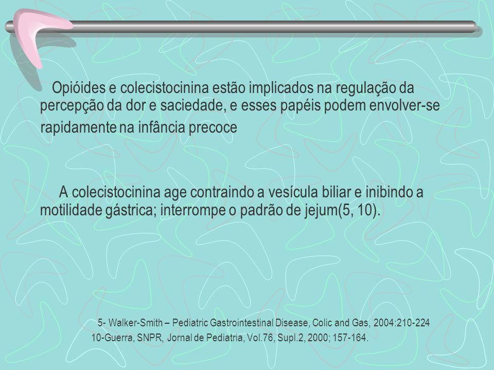 Opióides e colecistocinina estão implicados na regulação da percepção da dor e saciedade, e esses papéis podem envolver-se rapidamente na infância pre