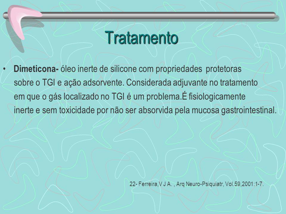 Tratamento Tratamento Dimeticona- óleo inerte de silicone com propriedades protetoras sobre o TGI e ação adsorvente. Considerada adjuvante no tratamen