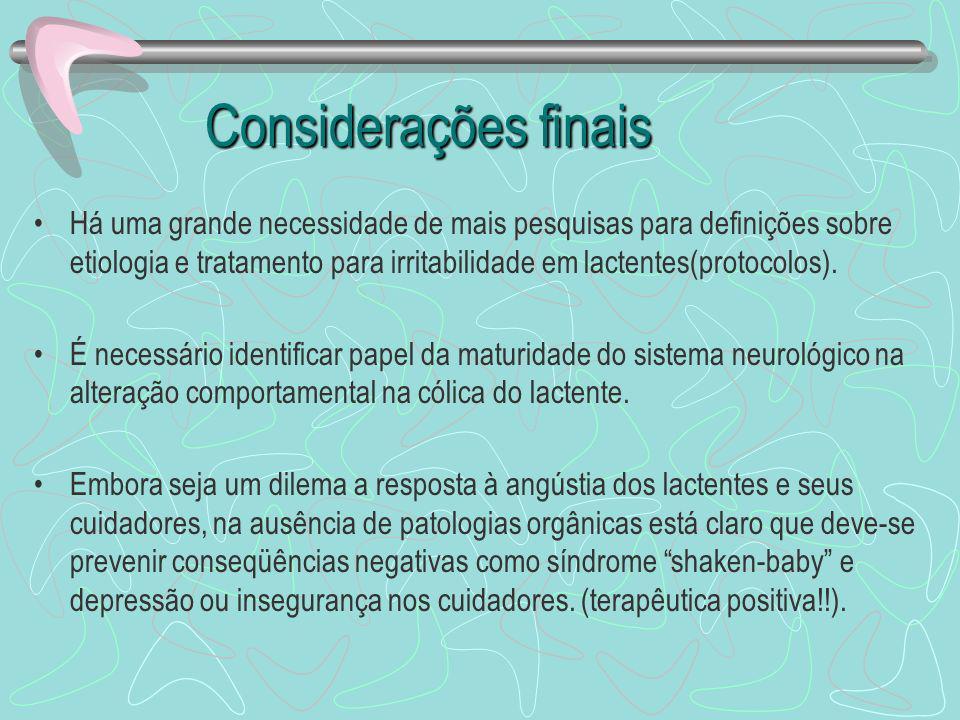 Considerações finais Há uma grande necessidade de mais pesquisas para definições sobre etiologia e tratamento para irritabilidade em lactentes(protoco
