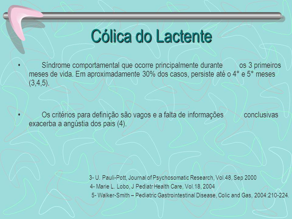 Cólica do Lactente Cólica do Lactente Critérios de Wessel(1954): regra dos 3 1°- Choro por mais de 3 horas por dia, 2°- por mais de 3 dias na semana, 3°- por mais de 3 semanas.