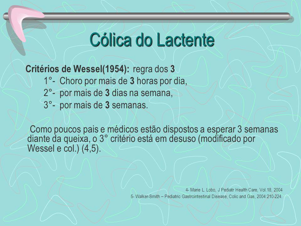 Cólica do Lactente Cólica do Lactente Critérios de Wessel(1954): regra dos 3 1°- Choro por mais de 3 horas por dia, 2°- por mais de 3 dias na semana,