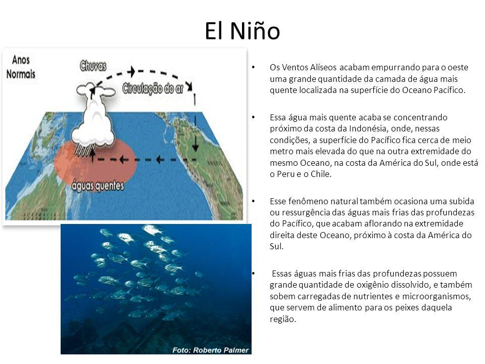 El Niño Os Ventos Alíseos acabam empurrando para o oeste uma grande quantidade da camada de água mais quente localizada na superfície do Oceano Pacífi