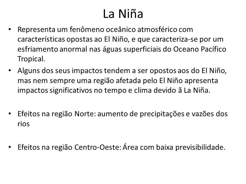 La Niña Representa um fenômeno oceânico atmosférico com características opostas ao El Niño, e que caracteriza-se por um esfriamento anormal nas águas
